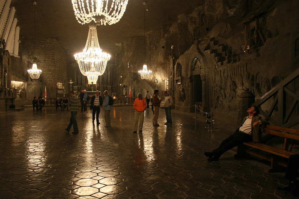 This is the Wieliczka salt mine, a World Unesco Heritage site in Poland. Each crystal in the chandelier is salt. They carved a chapel down there, and some people get married there. Crazy. Anyway, this is how much salt you need to take abortion stats with.